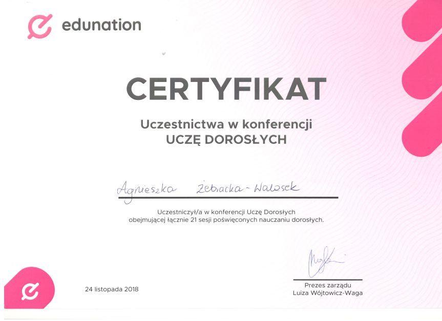 1 Edunation certyfikat